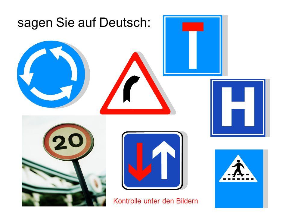 was verboten ist: Durchfahren Einfahrt Hupen Radfahren PKW fahren mehr als 20 KM/St fahren Kontrolle unter den Bildern