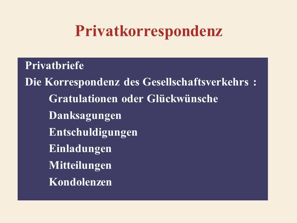 Gestaltung der Privatbriefe Anschrift Datum Anrede Brieftext: Einleitung Hauptteil Schluss Schlussformel, Grußformel Unterschrift