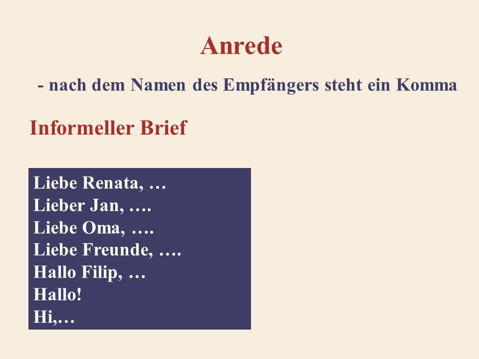 Anrede Offizieller Brief Sehr geehrte Frau Wolf, … Sehr geehrter Herr Fuchs, … Sehr geehrte Damen und Herren, … Geehrter Herr Müller, … Sehr geehrte Frau Professor Rede, … Sehr geehrter Herr Dr.