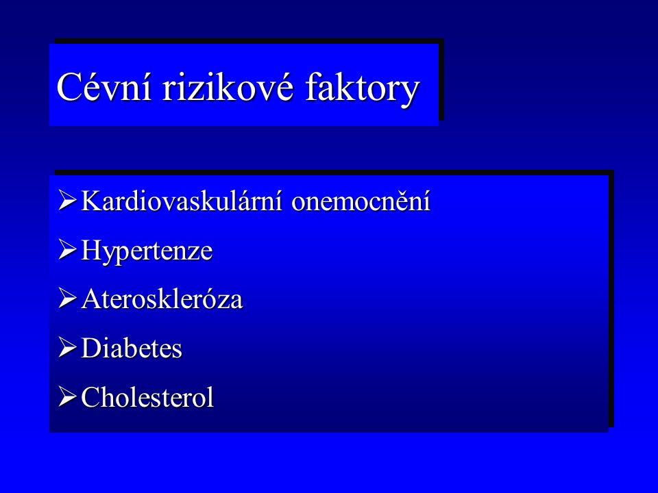 Cévní rizikové faktory  Kardiovaskulární onemocnění  Hypertenze  Ateroskleróza  Diabetes  Cholesterol  Kardiovaskulární onemocnění  Hypertenze