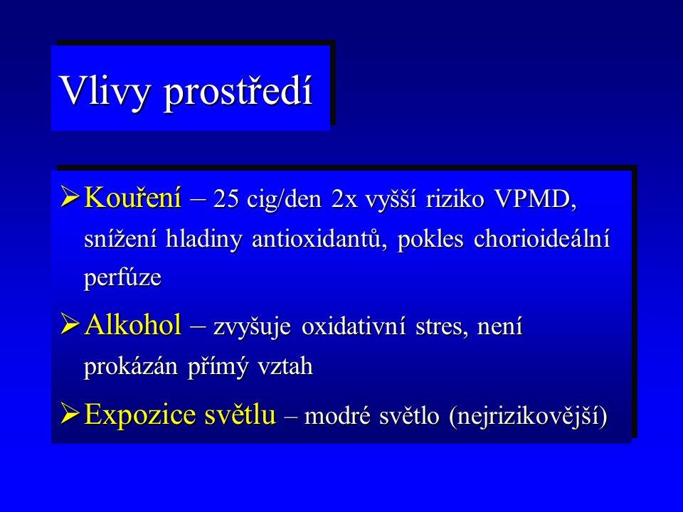  Kouření – 25 cig/den 2x vyšší riziko VPMD, snížení hladiny antioxidantů, pokles chorioideální perfúze  Alkohol – zvyšuje oxidativní stres, není prokázán přímý vztah  Expozice světlu – modré světlo (nejrizikovější)  Kouření – 25 cig/den 2x vyšší riziko VPMD, snížení hladiny antioxidantů, pokles chorioideální perfúze  Alkohol – zvyšuje oxidativní stres, není prokázán přímý vztah  Expozice světlu – modré světlo (nejrizikovější) Vlivy prostředí