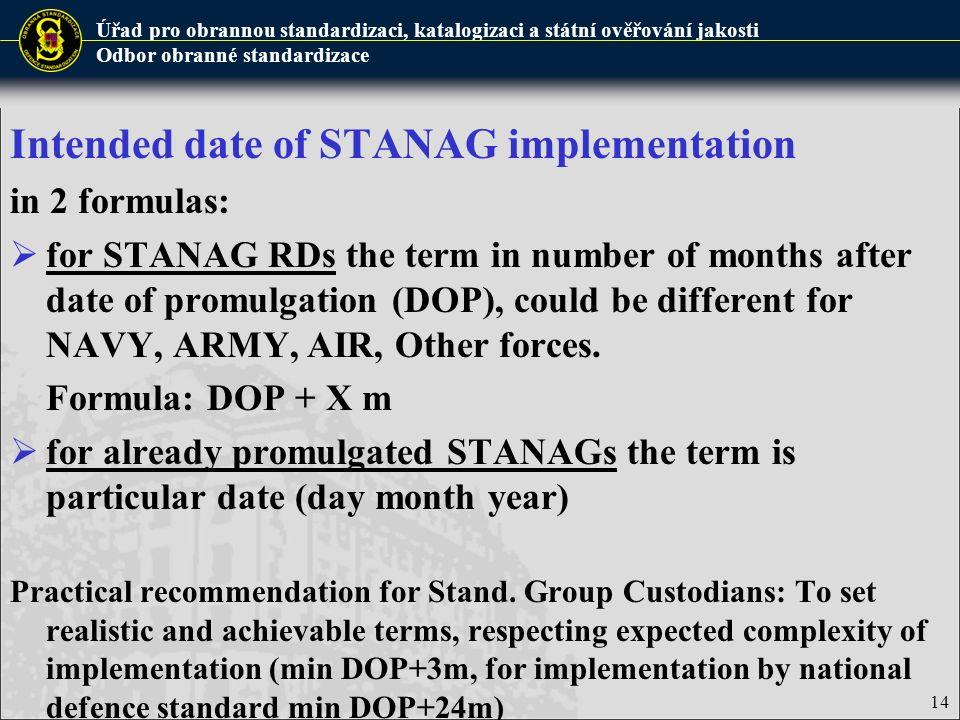 Úřad pro obrannou standardizaci, katalogizaci a státní ověřování jakosti Odbor obranné standardizace 14 Intended date of STANAG implementation in 2 fo