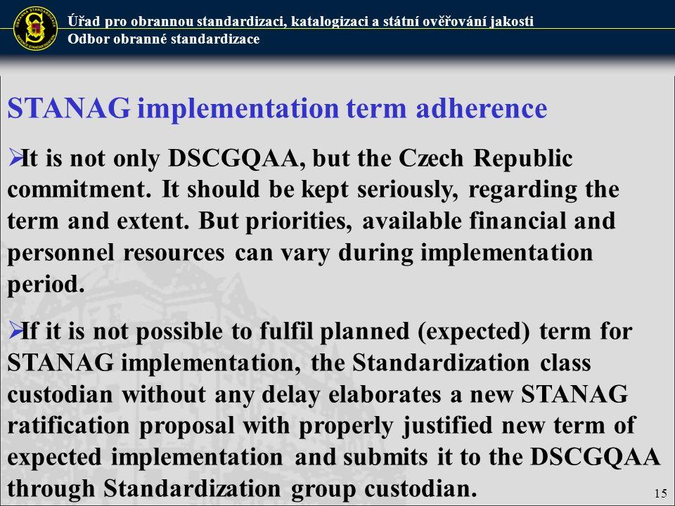 Úřad pro obrannou standardizaci, katalogizaci a státní ověřování jakosti Odbor obranné standardizace 15 STANAG implementation term adherence  It is n