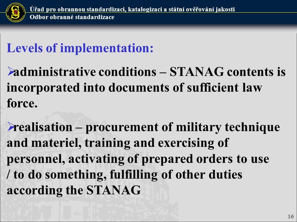 Úřad pro obrannou standardizaci, katalogizaci a státní ověřování jakosti Odbor obranné standardizace 16 Levels of implementation:  administrative con