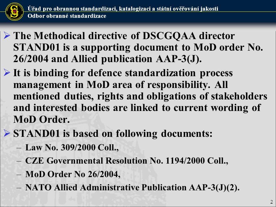 Úřad pro obrannou standardizaci, katalogizaci a státní ověřování jakosti Odbor obranné standardizace  The Methodical directive of DSCGQAA director ST