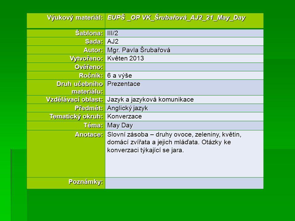 Výukový materiál: EUPŠ _OP VK_Šrubařová_AJ2_21_May_Day Šablona:III/2 Sada:AJ2 Autor: Mgr.