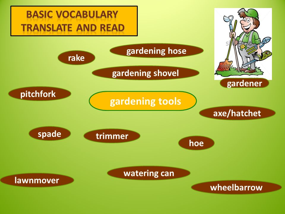 rake spade trimmer watering can pitch fork lawnmover gardening hose hoe axe/hatchet wheelbarrow gardening shovel 1 2 7 3 4 5 6 8 9 10 11 12 gardener