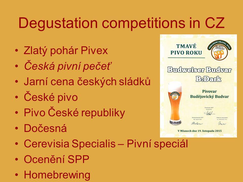 Degustation competitions in CZ Zlatý pohár Pivex Česká pivní pečeť Jarní cena českých sládků České pivo Pivo České republiky Dočesná Cerevisia Special