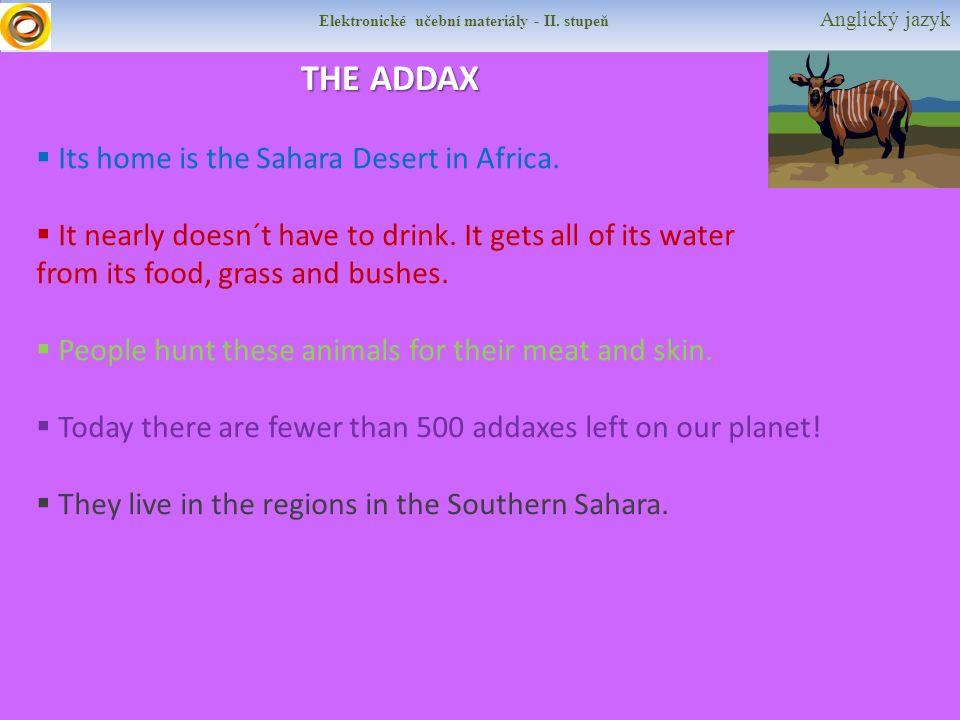 Elektronické učební materiály - II. stupeň Anglický jazyk THE ADDAX  Its home is the Sahara Desert in Africa.  It nearly doesn´t have to drink. It g