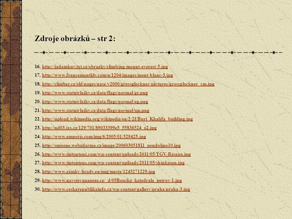Zdroje obrázků – str 2: 16. http://jadamkuv.txt.cz/obrazky/climbing-mount-everest-5.jpghttp://jadamkuv.txt.cz/obrazky/climbing-mount-everest-5.jpg 17.