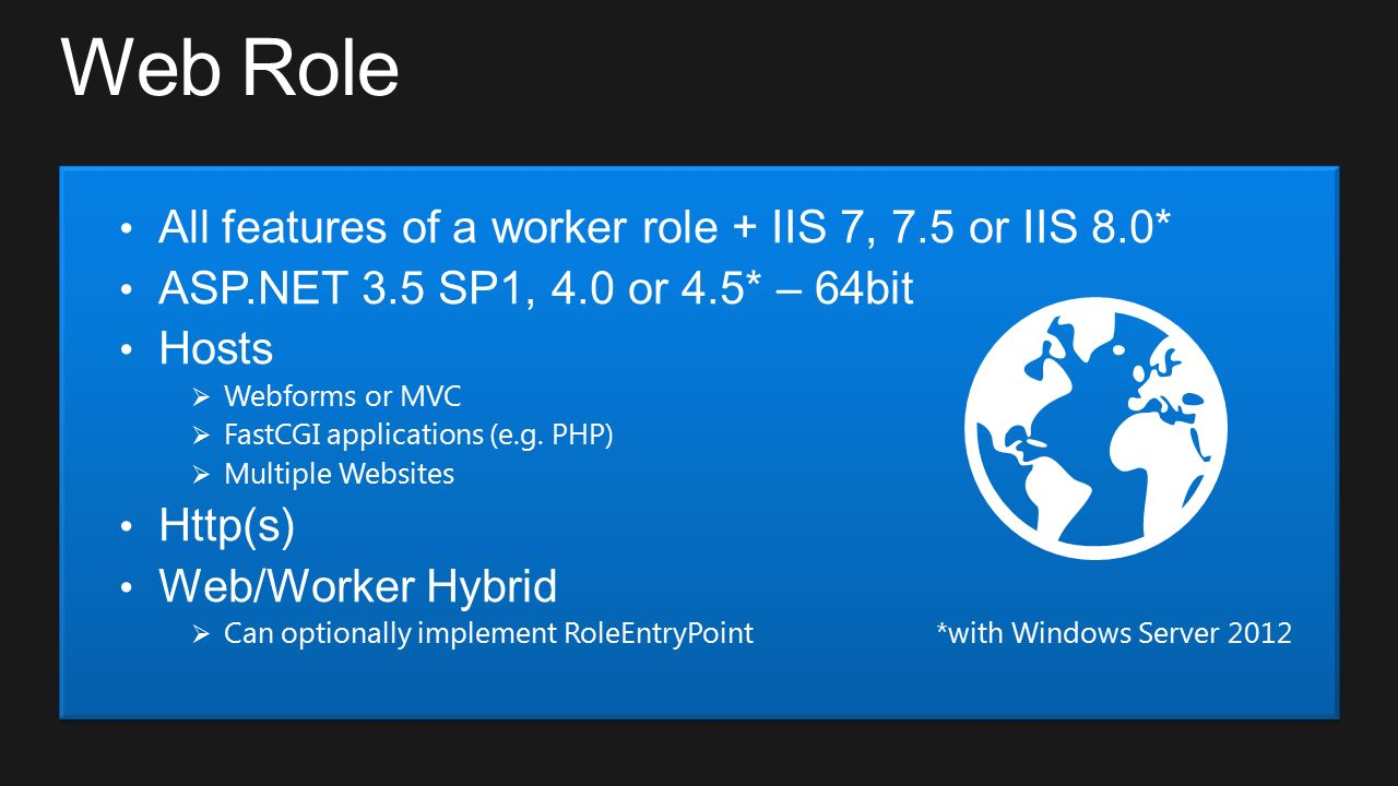 Web Role All features of a worker role + IIS 7, 7.5 or IIS 8.0* ASP.NET 3.5 SP1, 4.0 or 4.5* – 64bit Hosts  Webforms or MVC  FastCGI applications (e