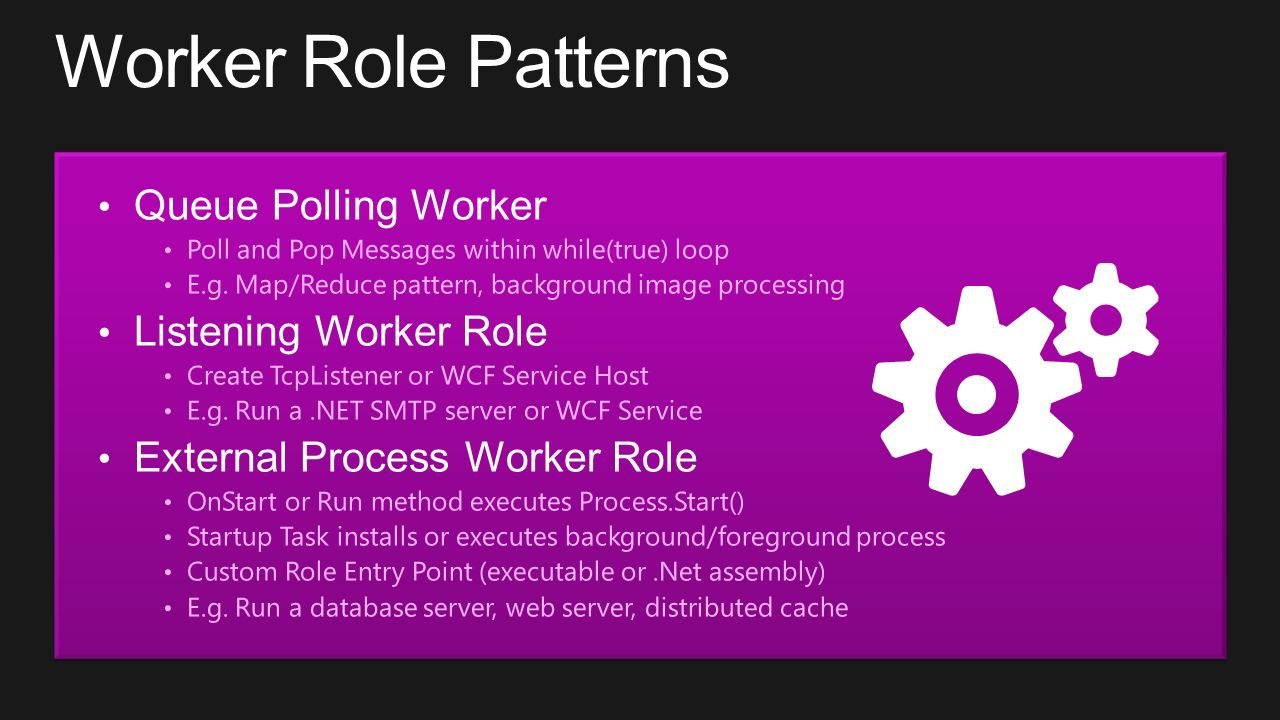 Worker Role Patterns Queue Polling Worker Poll and Pop Messages within while(true) loop E.g. Map/Reduce pattern, background image processing Listening