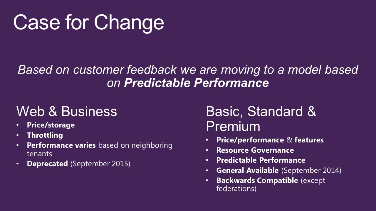 Based on customer feedback we are moving to a model based on Predictable Performance