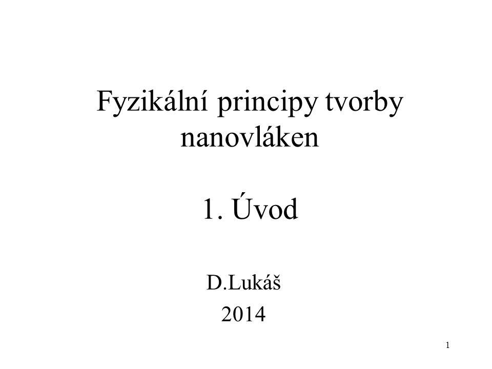 1 Fyzikální principy tvorby nanovláken 1. Úvod D.Lukáš 2014