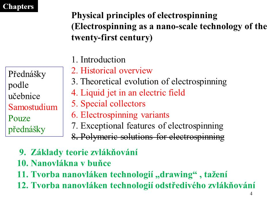 4 Chapters Physical principles of electrospinning (Electrospinning as a nano-scale technology of the twenty-first century) 1.