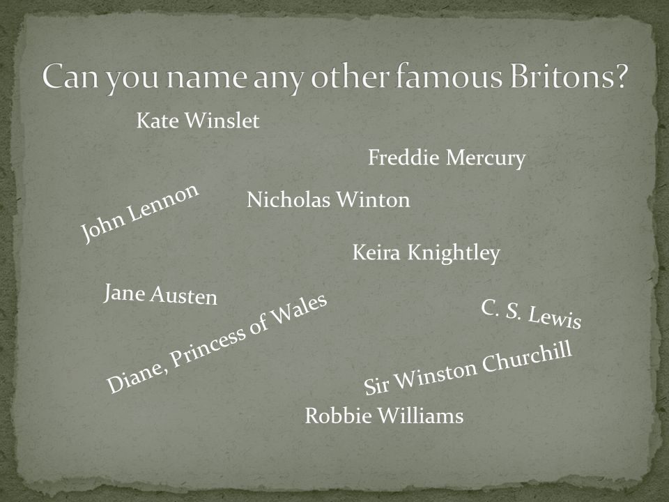 J o h n L e n n o n C. S. Lewis Diane, Princess of Wales Freddie Mercury Robbie Williams Kate Winslet Keira Knightley Jane Austen Sir Winston Churchil