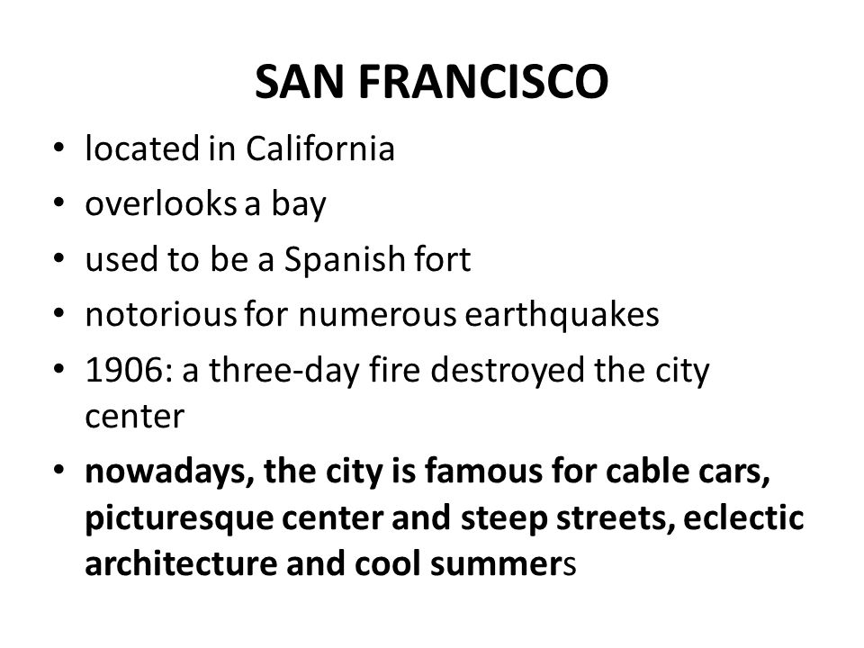 San Francisco banking and finance center the city ranks among the world's top destinations and one of the most visited cities in the USA a centre of liberal activism the top landmarks include: Golden Gate Bridge, the former prison on Alcatraz Island and Chinatown district