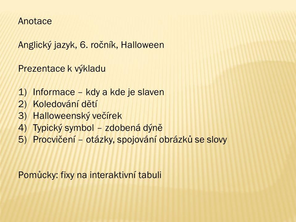 Anotace Anglický jazyk, 6.