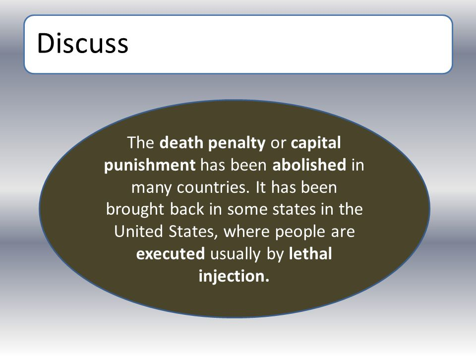 Discuss The death penalty or capital punishment has been abolished in many countries. It has been brought back in some states in the United States, wh