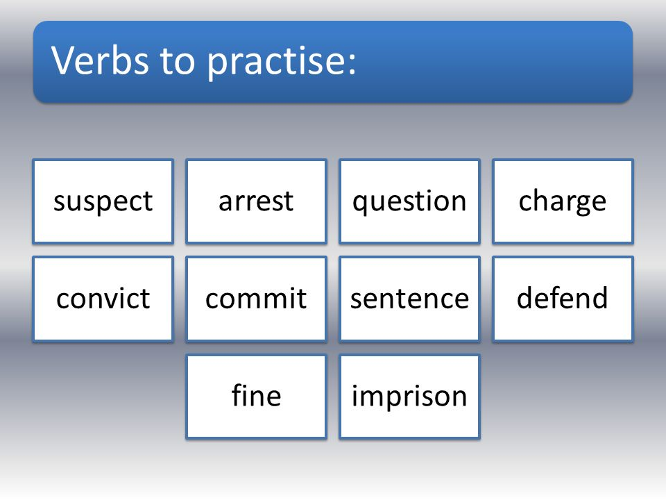 Verbs to practise: suspectarrestquestioncharge convictcommitsentencedefend fineimprison