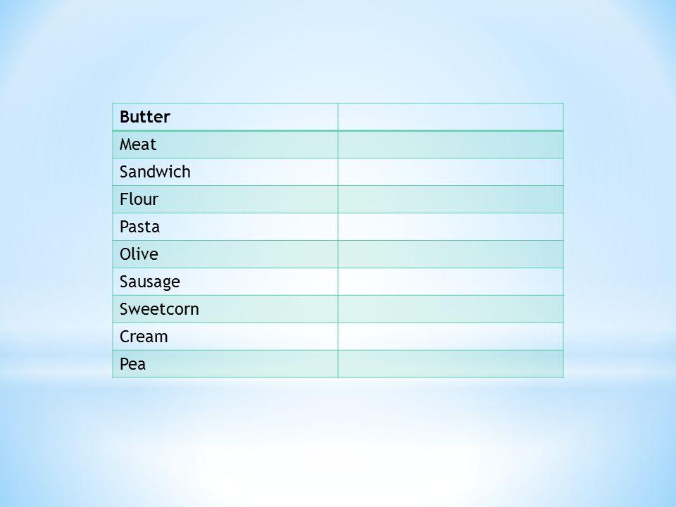 Butter Meat Sandwich Flour Pasta Olive Sausage Sweetcorn Cream Pea