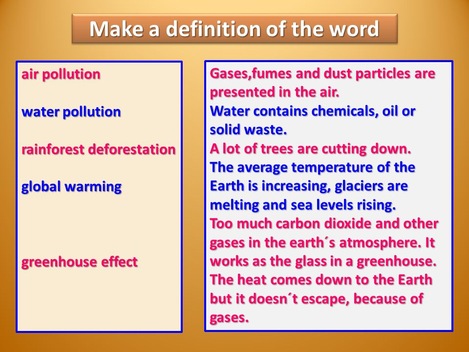 Make a definition of the word air pollution water pollution rainforest deforestation global warming greenhouse effect Gases,fumes and dust particles are presented in the air.