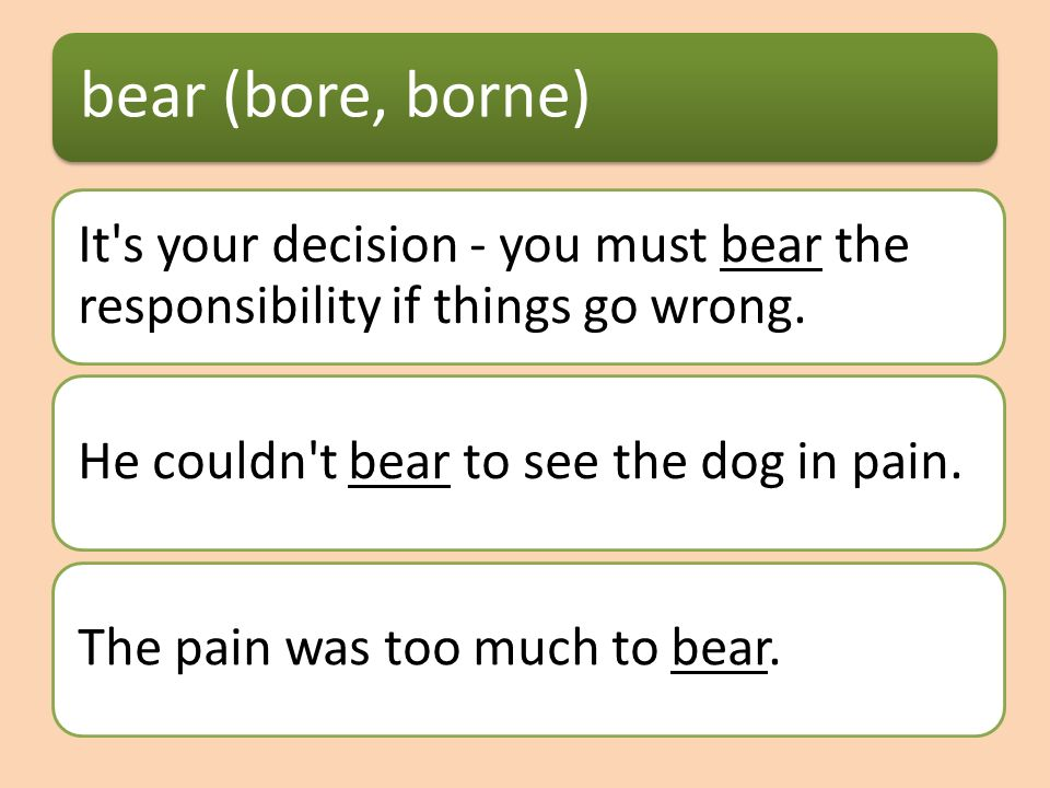 bear (bore, borne) It s your decision - you must bear the responsibility if things go wrong.