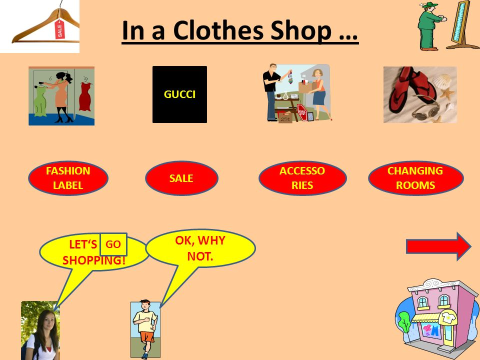 In a Clothes Shop … GUCCI FASHION LABEL SALE ACCESSO RIES CHANGING ROOMS LET'S _ _ SHOPPING.
