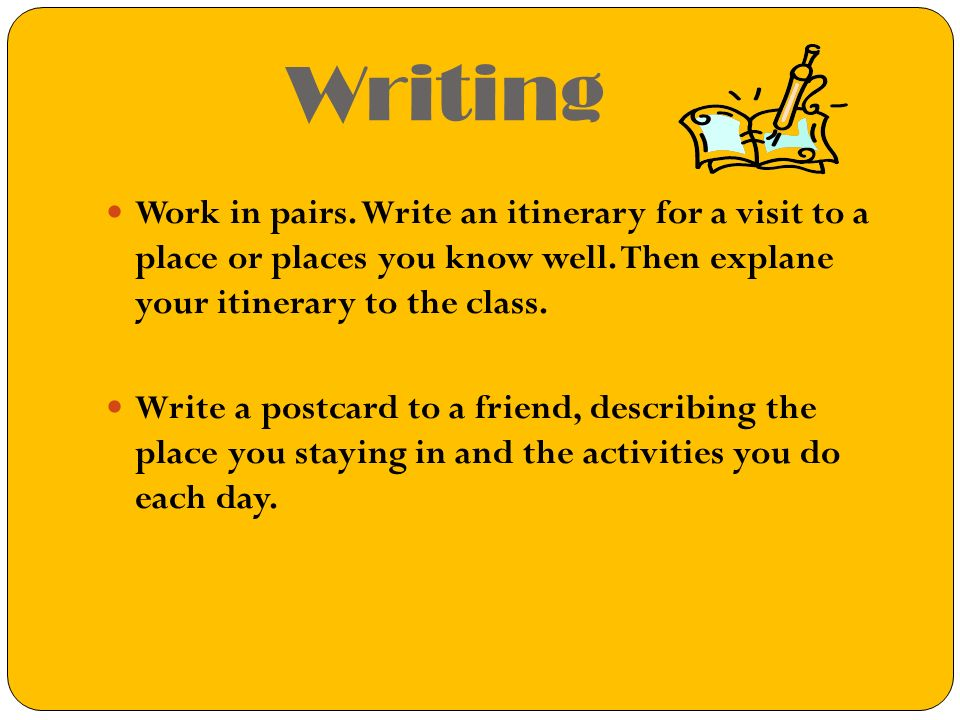 Writing Work in pairs.Write an itinerary for a visit to a place or places you know well.