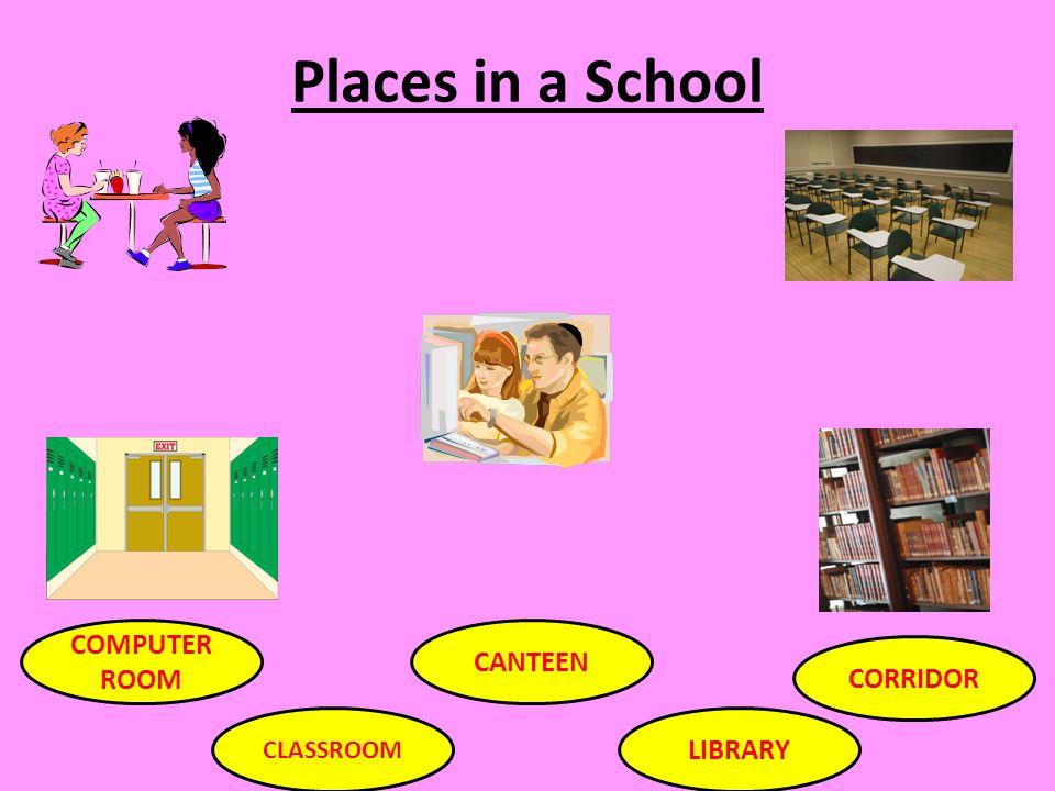 Places in a School COMPUTER ROOM CLASSROOM CANTEEN LIBRARY CORRIDOR