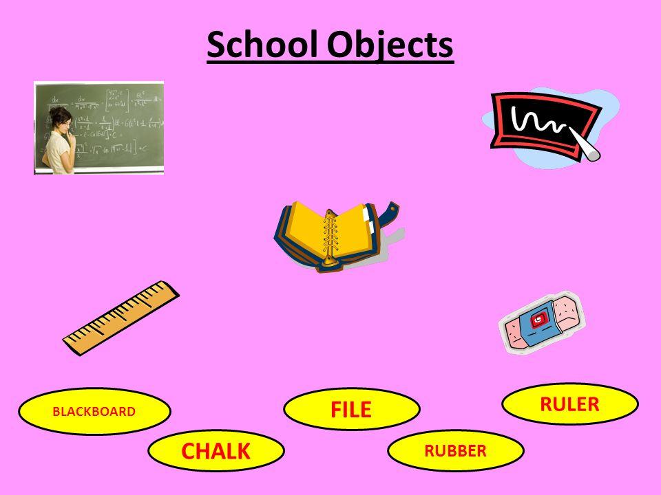 School Objects BLACKBOARD CHALK FILE RUBBER RULER