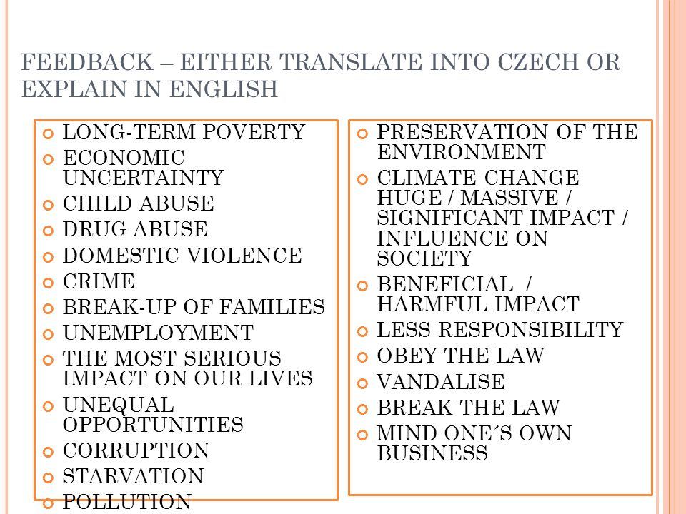 FEEDBACK – EITHER TRANSLATE INTO CZECH OR EXPLAIN IN ENGLISH LONG-TERM POVERTY ECONOMIC UNCERTAINTY CHILD ABUSE DRUG ABUSE DOMESTIC VIOLENCE CRIME BRE