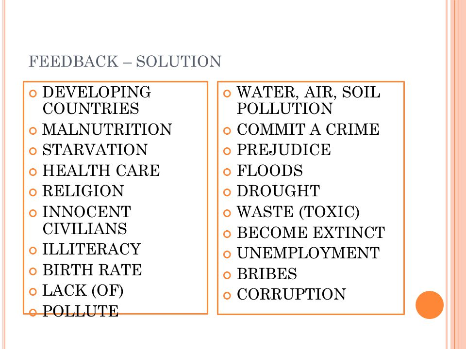 FEEDBACK – SOLUTION DEVELOPING COUNTRIES MALNUTRITION STARVATION HEALTH CARE RELIGION INNOCENT CIVILIANS ILLITERACY BIRTH RATE LACK (OF) POLLUTE WATER