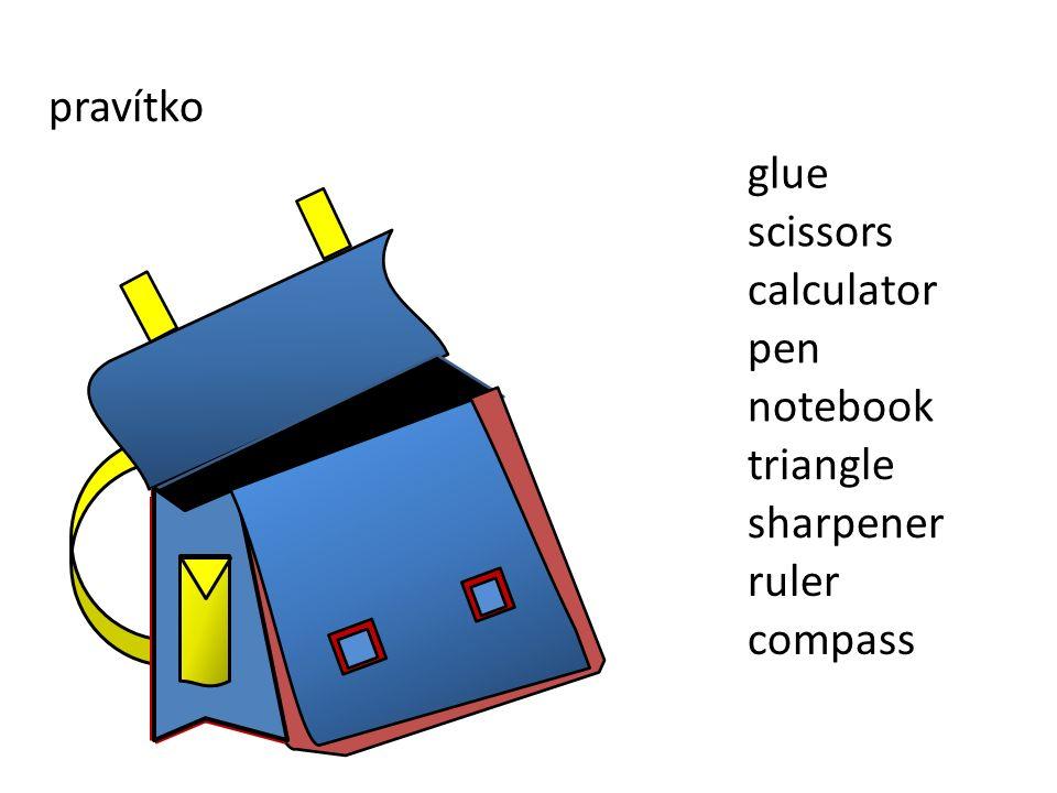 pravítko sharpener ruler compass triangle notebook pen scissors glue calculator
