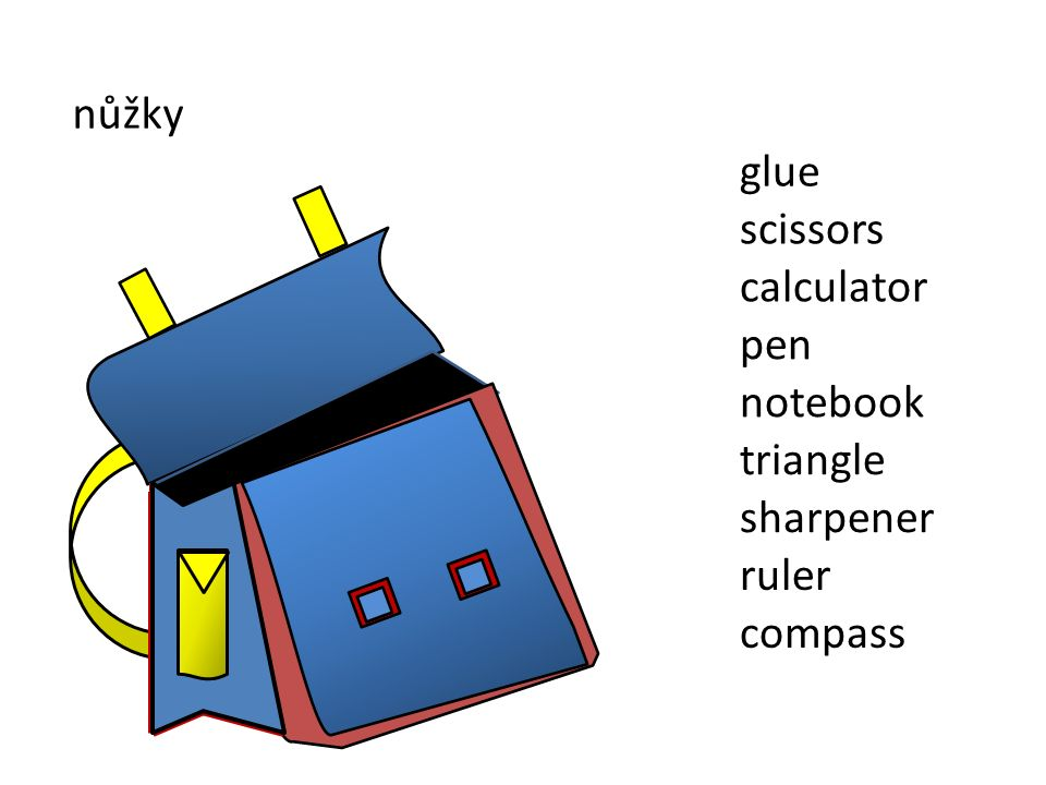 nůžky sharpener ruler compass triangle notebook pen scissors glue calculator