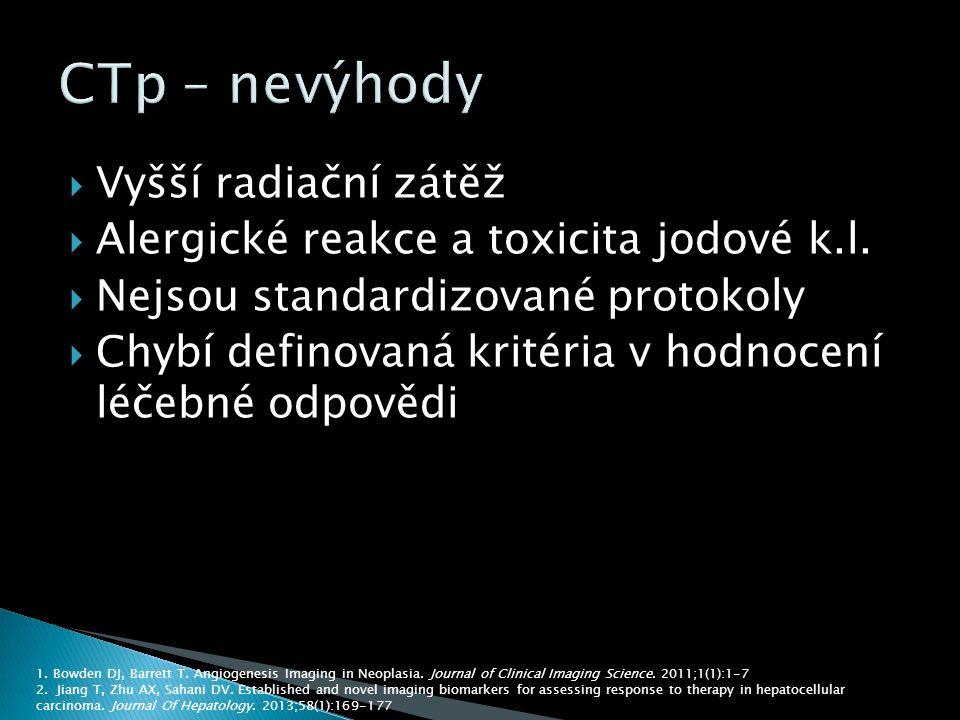  Vyšší radiační zátěž  Alergické reakce a toxicita jodové k.l.