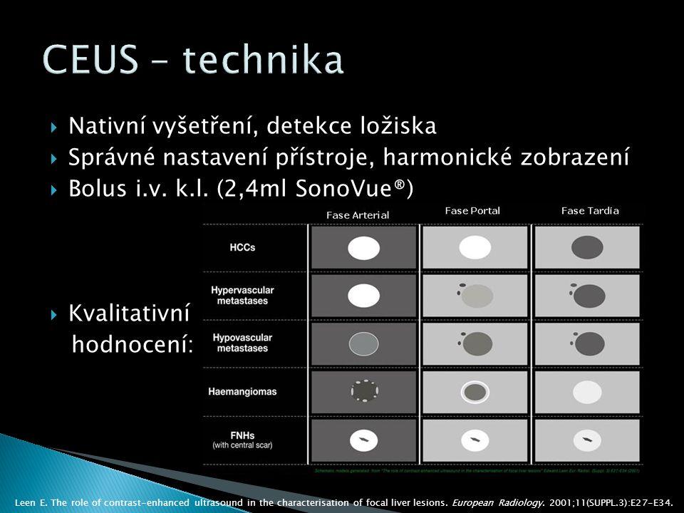  Nativní vyšetření, detekce ložiska  Správné nastavení přístroje, harmonické zobrazení  Bolus i.v.