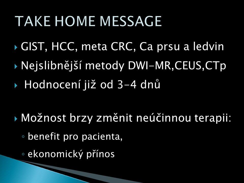  GIST, HCC, meta CRC, Ca prsu a ledvin  Nejslibnější metody DWI-MR,CEUS,CTp  Hodnocení již od 3-4 dnů  Možnost brzy změnit neúčinnou terapii: ◦ benefit pro pacienta, ◦ ekonomický přínos