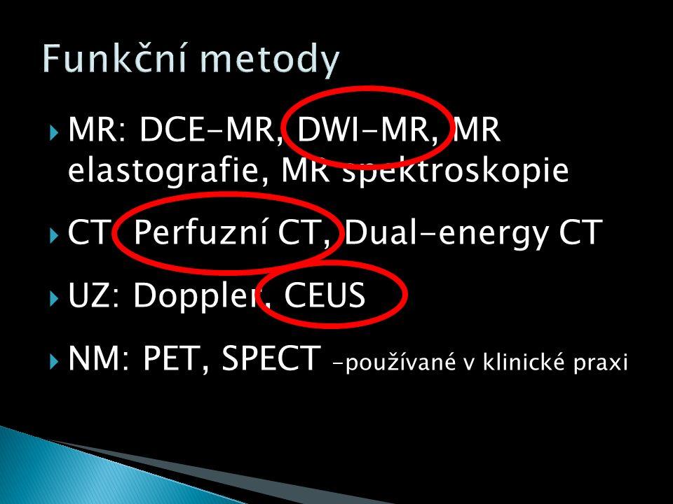  MR: DCE-MR, DWI-MR, MR elastografie, MR spektroskopie  CT: Perfuzní CT, Dual-energy CT  UZ: Doppler, CEUS  NM: PET, SPECT -používané v klinické praxi