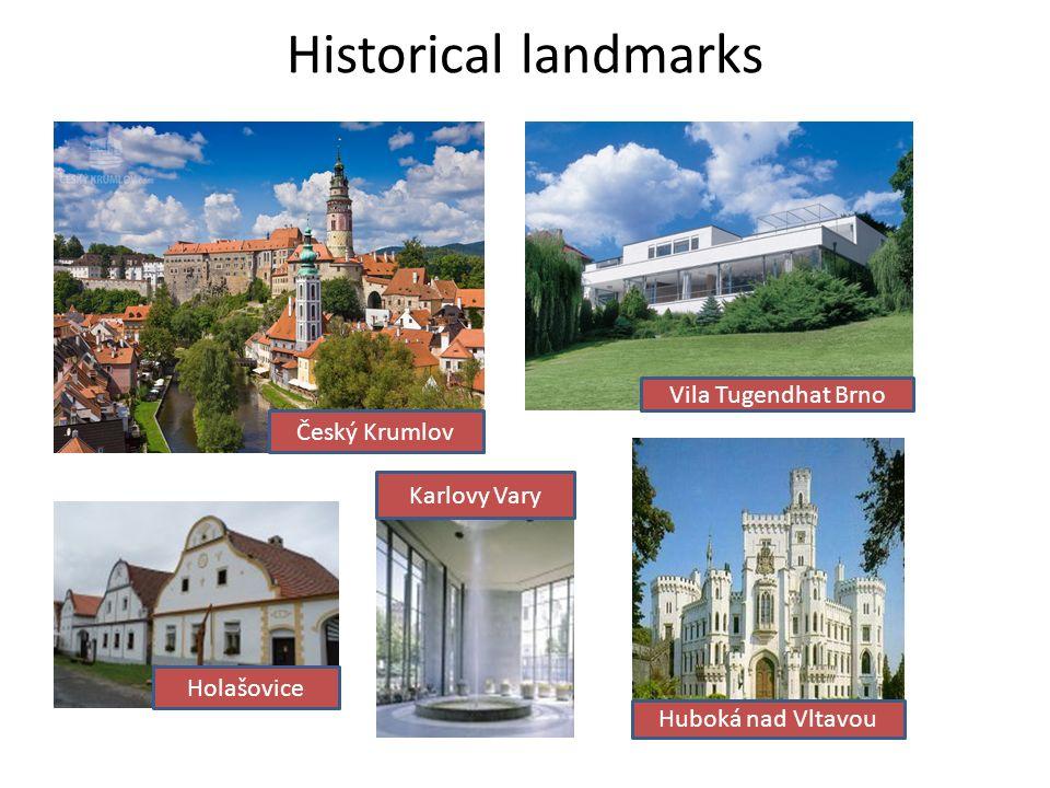 Historical landmarks Český Krumlov Vila Tugendhat Brno Holašovice Karlovy Vary Huboká nad Vltavou