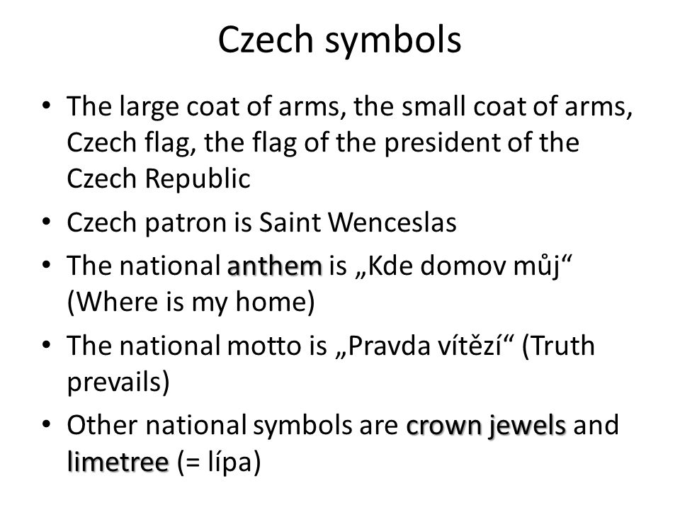 Czech symbols The large coat of arms of the Czech R.