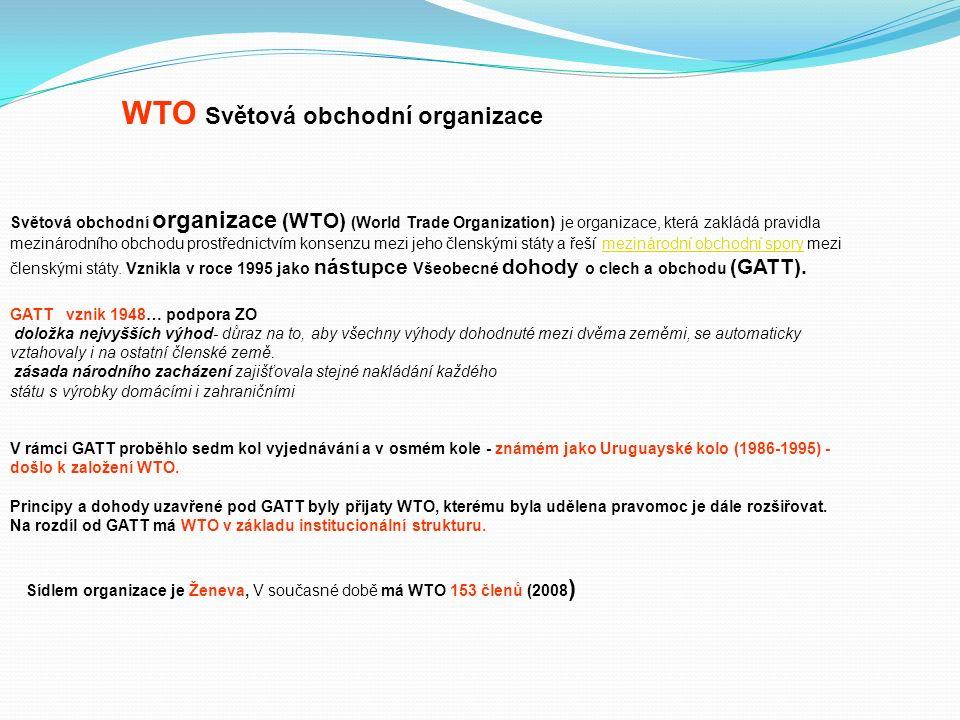 Světová obchodní organizace (WTO) (World Trade Organization) je organizace, která zakládá pravidla mezinárodního obchodu prostřednictvím konsenzu mezi jeho členskými státy a řeší mezinárodní obchodní spory mezi členskými státy.