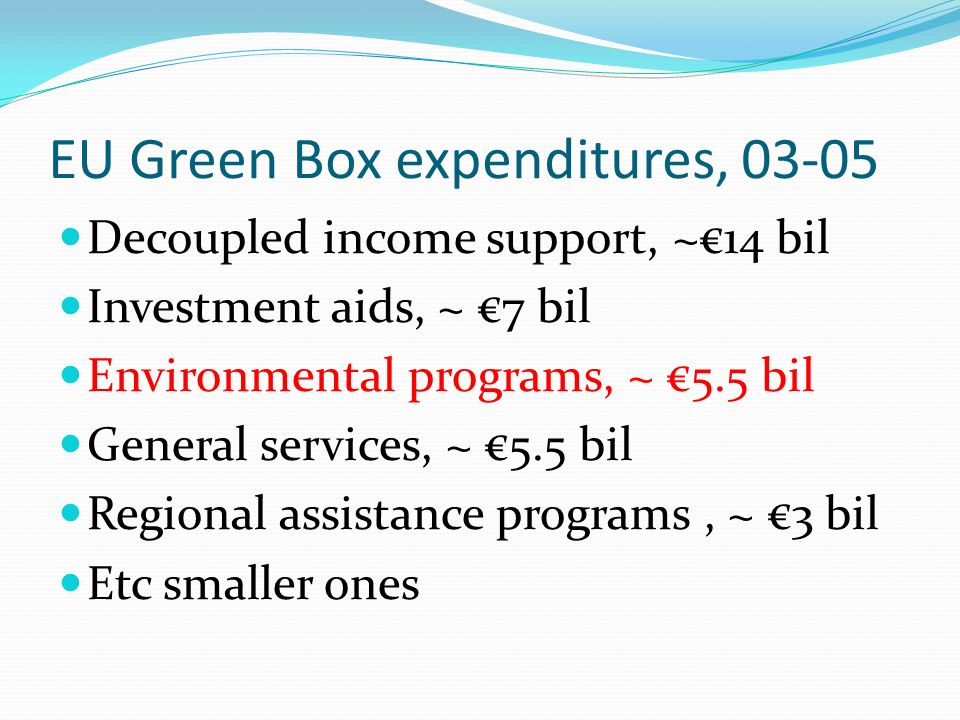 EU Green Box expenditures, 03-05 Decoupled income support, ~€14 bil Investment aids, ~ €7 bil Environmental programs, ~ €5.5 bil General services, ~ €5.5 bil Regional assistance programs, ~ €3 bil Etc smaller ones