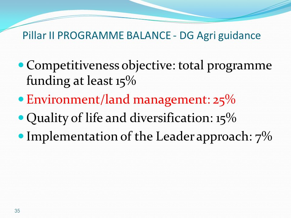 35 Pillar II PROGRAMME BALANCE - DG Agri guidance Competitiveness objective: total programme funding at least 15% Environment/land management: 25% Quality of life and diversification: 15% Implementation of the Leader approach: 7%