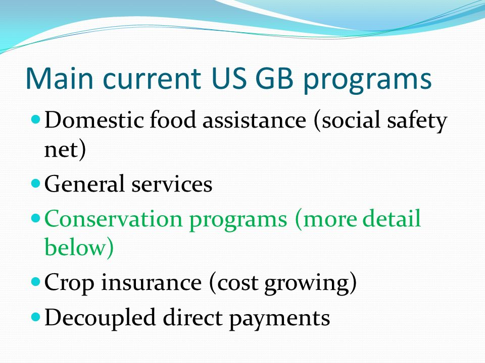 Main current US GB programs Domestic food assistance (social safety net) General services Conservation programs (more detail below) Crop insurance (cost growing) Decoupled direct payments
