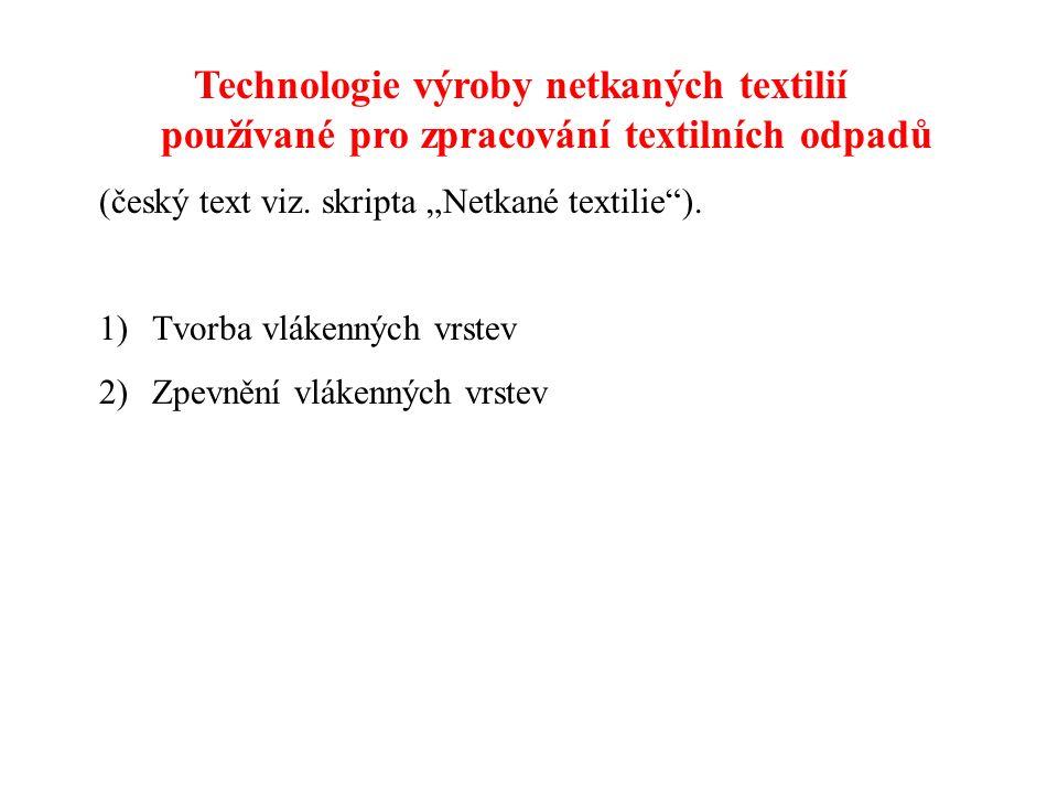 Technologie výroby netkaných textilií používané pro zpracování textilních odpadů (český text viz.