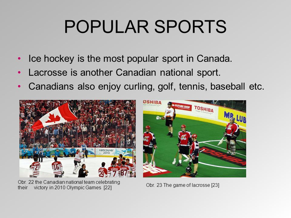 POPULAR SPORTS Ice hockey is the most popular sport in Canada.
