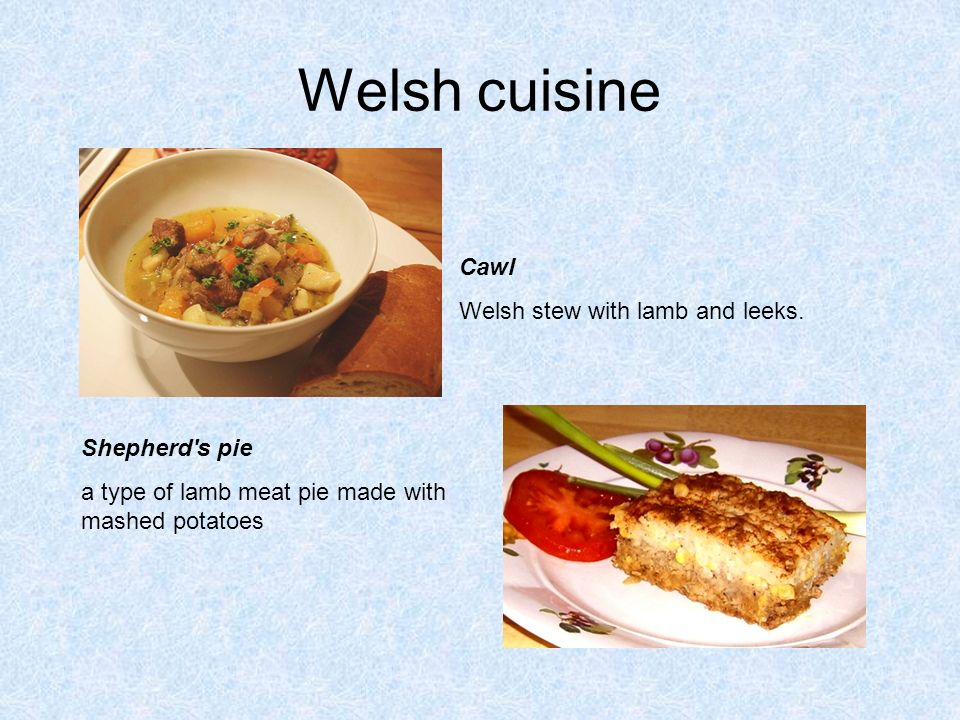 Welsh cuisine Cawl Welsh stew with lamb and leeks.