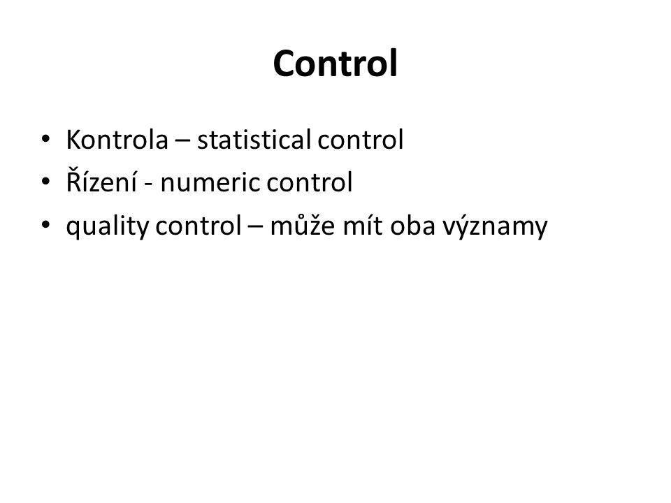 Control Kontrola – statistical control Řízení - numeric control quality control – může mít oba významy