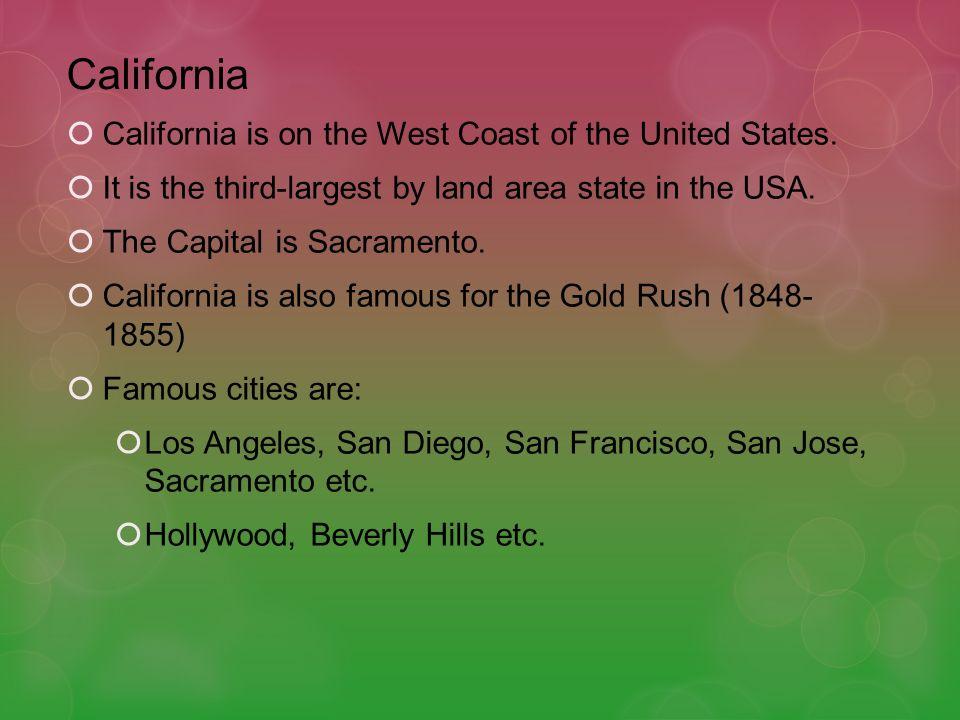 Important Information Capital: Sacramento Largest city: Los AngelesPopulation: 37,253,956Spoken languages: English and SpanishOfficial language: EnglishCurrency: American Dollar